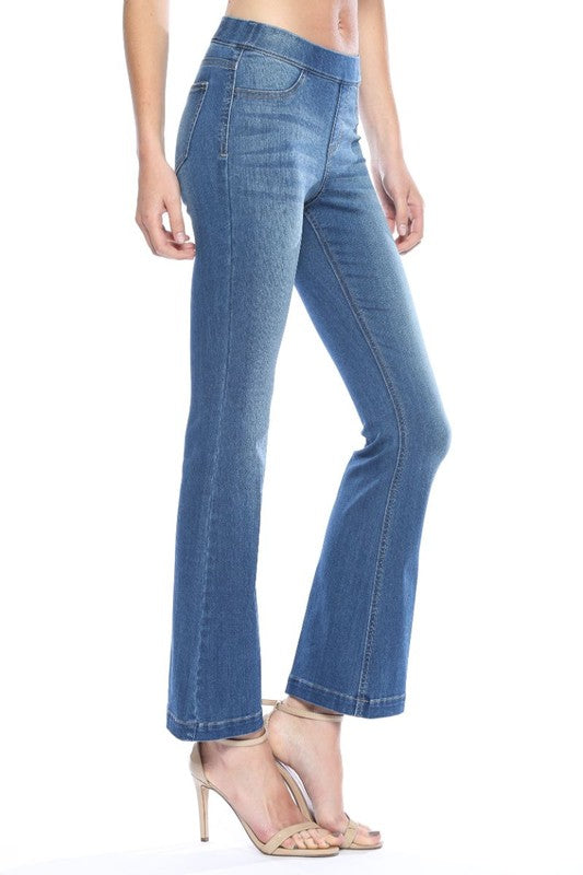 "Medium Denim Flared Jegging 30"" Inseam"