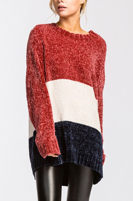 Chenille Colorblock Sweater Top Burgundy