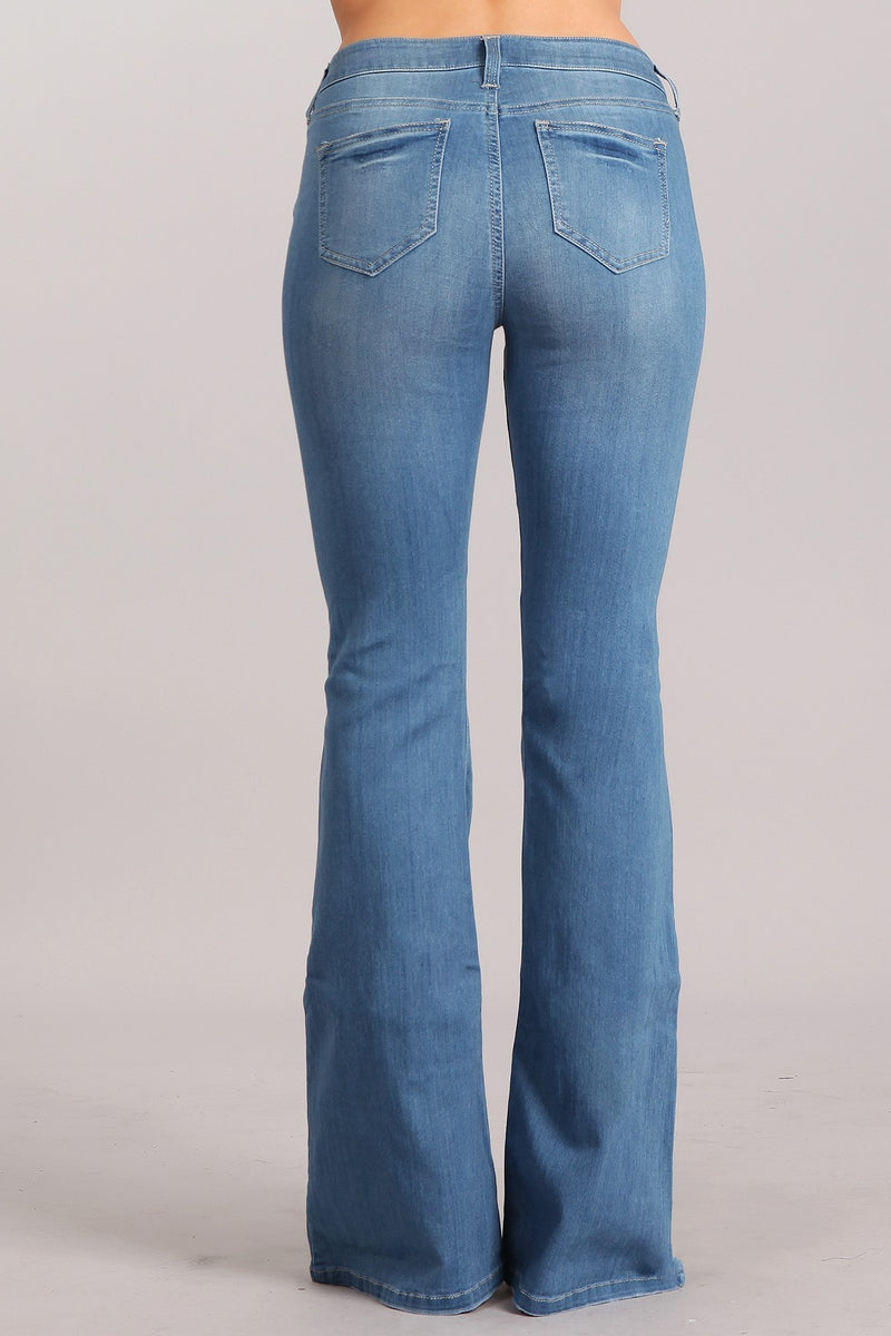 Buy Mid Rise Denim Flare Bell Bottom Jeans online at Southern Fashion Boutique Bliss