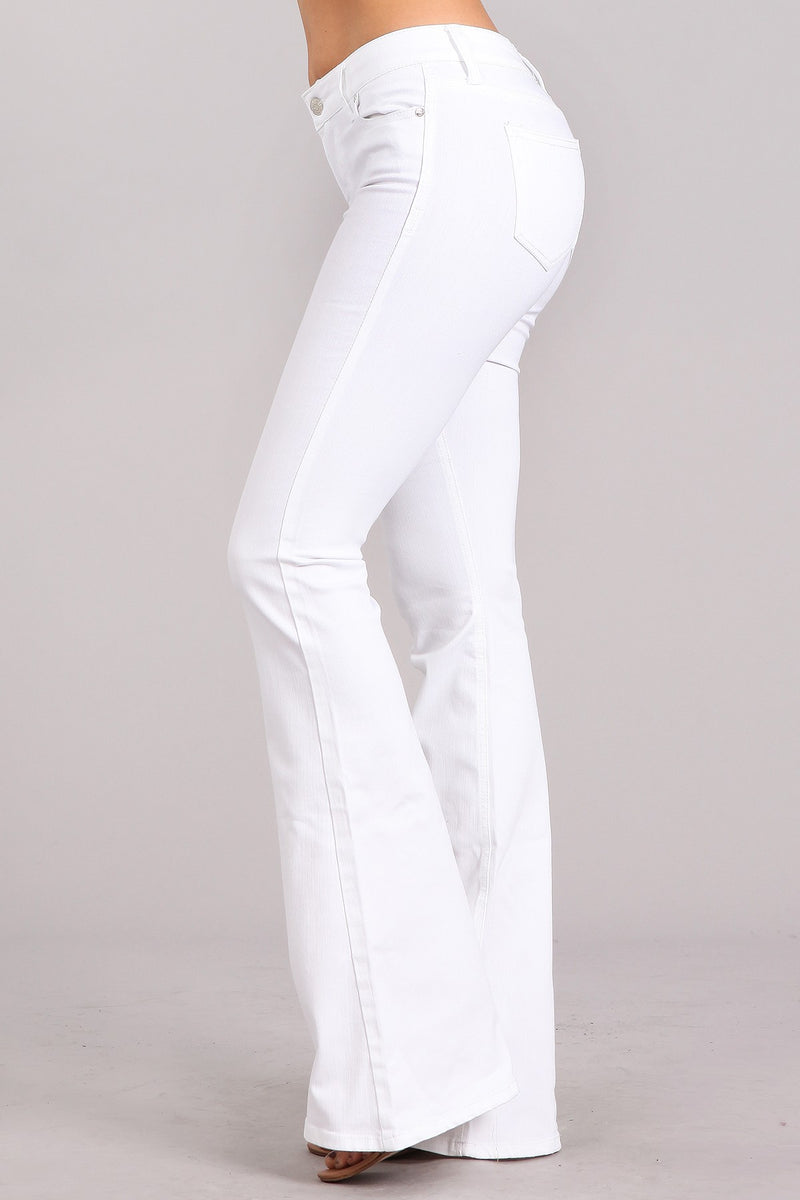 Buy Flare Mid-Rise Full Length Wide Leg Jeans White online at Southern Fashion Boutique Bliss