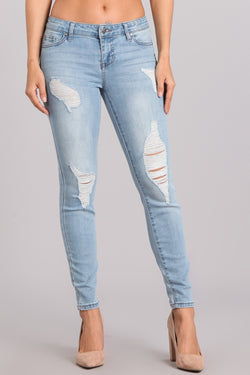 Buy Mid-Rise Ankle Skinny Jeans Ripped Details Denim online at Southern Fashion Boutique Bliss