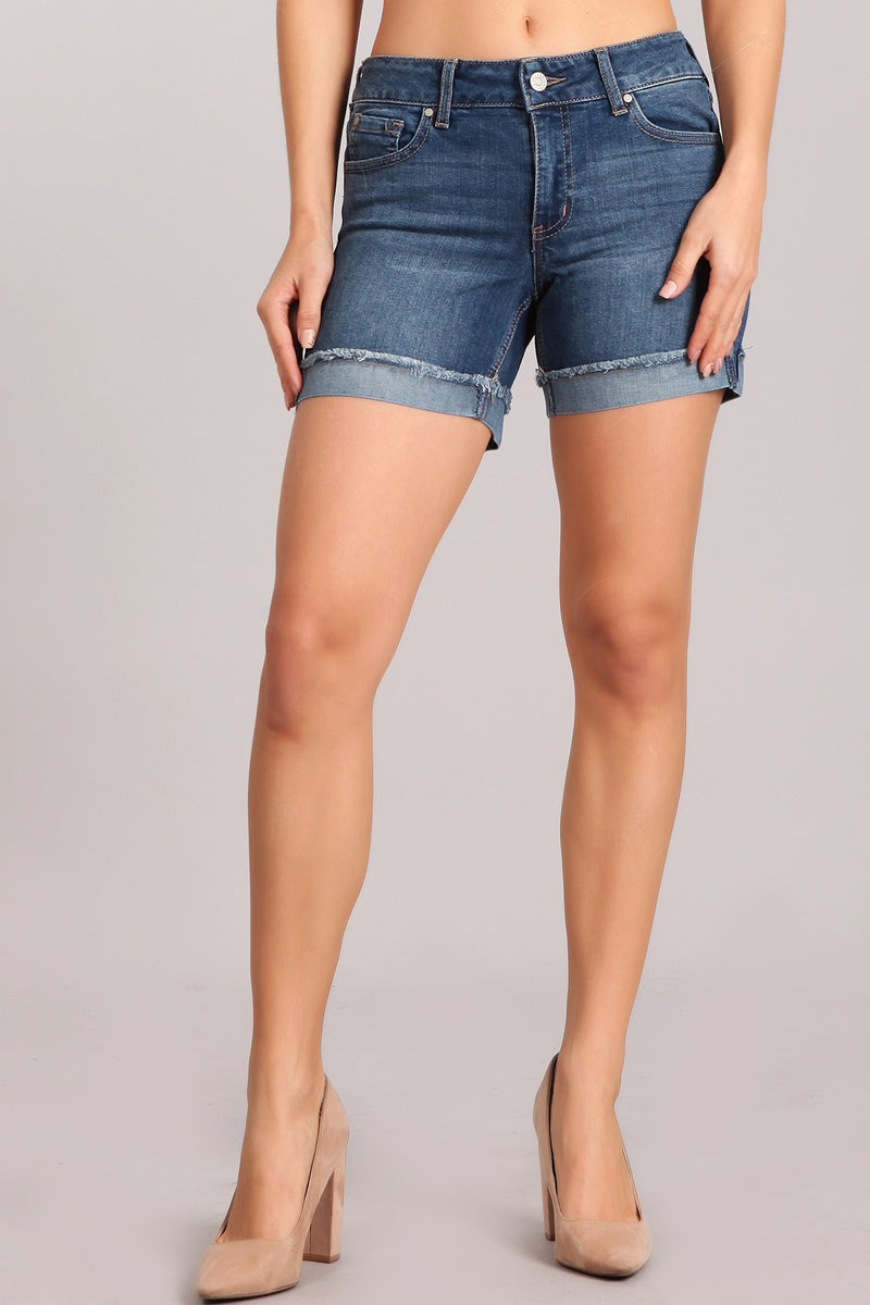 Buy Mid-Rise Denim Shorts with Flip Fray Cuff Dark online at Southern Fashion Boutique Bliss