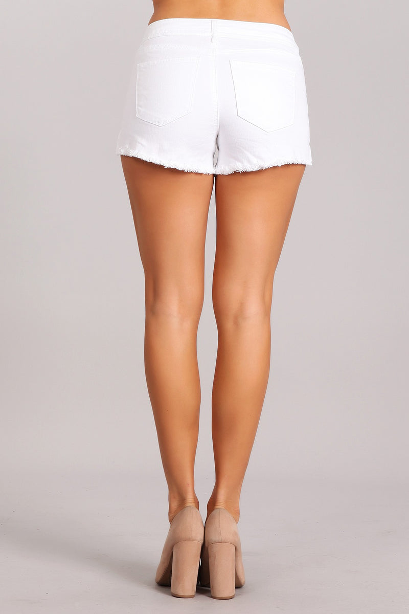 Buy Mid Rise Denim Shorts White online at Southern Fashion Boutique Bliss