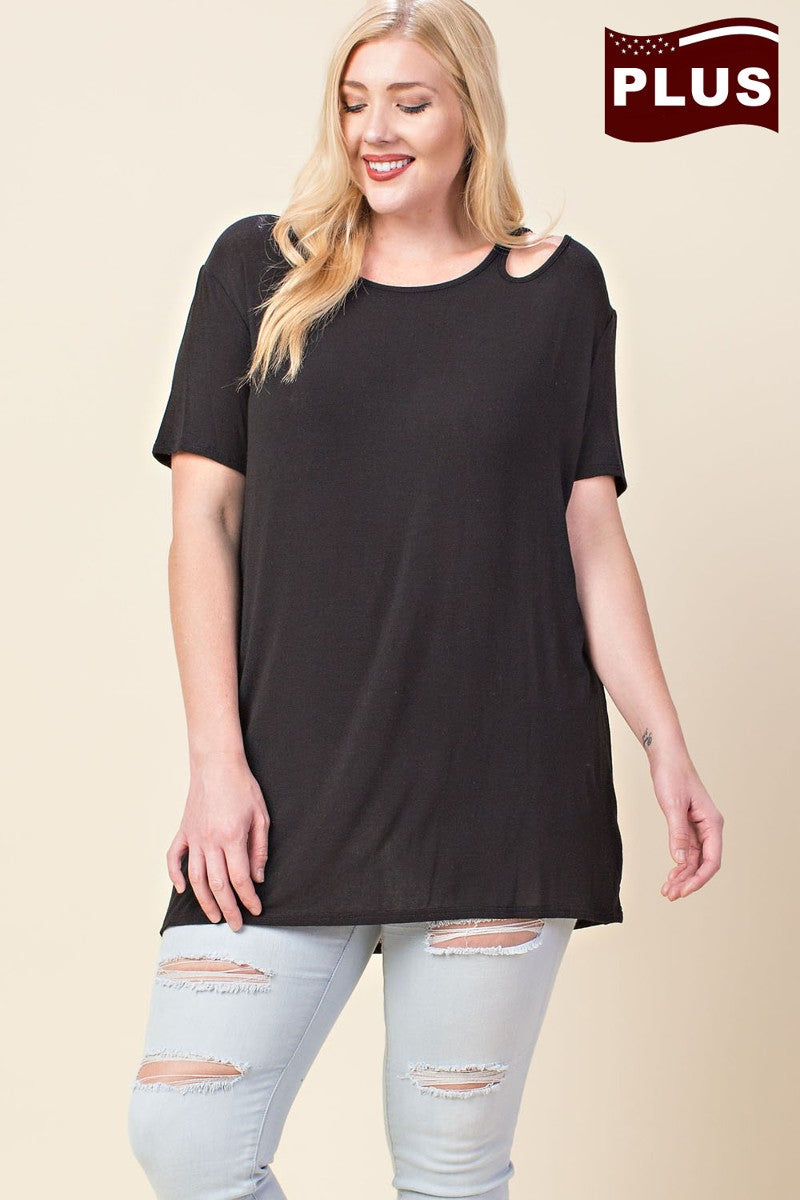 Buy Round Neck Asymmetric Shoulder Cutout Top Black online at Southern Fashion Boutique Bliss