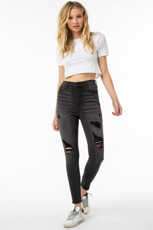 Destructed High Rise Skinny Jeans Graphite - Athens Georgia Women's Fashion Boutique