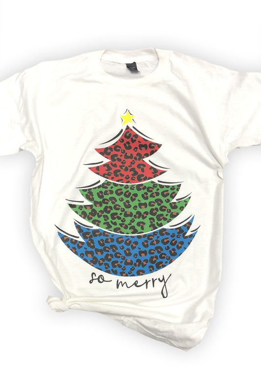 Leopard Colors Christmas Tree Tee