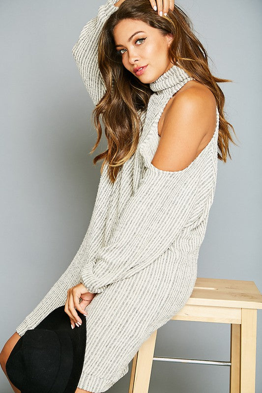 Buy Mock Neck One Shoulder Knit Dress Oatmeal online at Southern Fashion Boutique Bliss