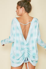 Buy Back Detail Printed Waffle Knit Top Ivory/Teal online at Southern Fashion Boutique Bliss