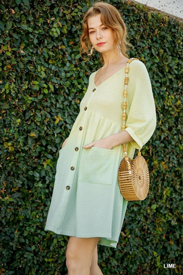 Waffle Knit V-Neck Front Pocket Dress Lime