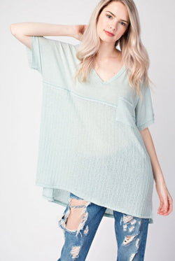 Hacci Fabric Mixed V-Neck Top Sage