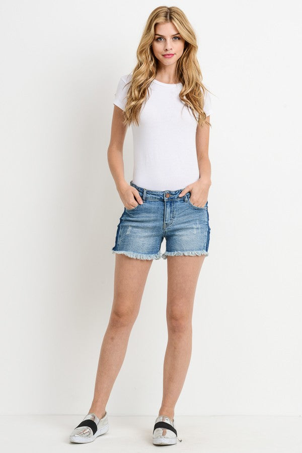 Buy Frayed Shorts with Side Wash Detail online at Southern Fashion Boutique Bliss