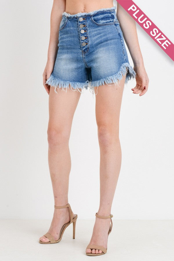 Buy Highwaist Raw Edge Button Down Shorts online at Southern Fashion Boutique Bliss