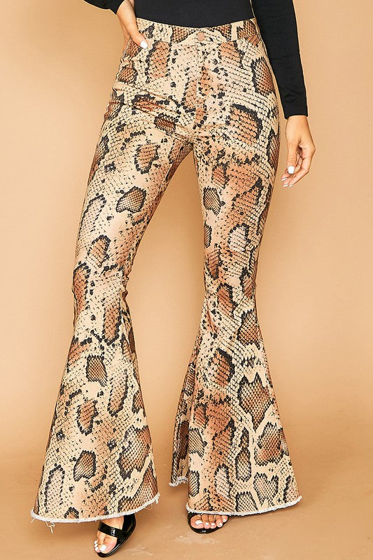 Animal Printed Flare Denim Pants Snake