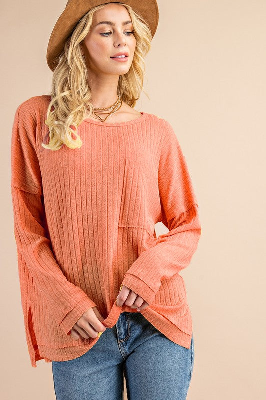 Vintage Rib Textured Top Salmon