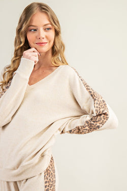 Buy Leopard Panel Cashmere Feel Top Oatmeal online at Southern Fashion Boutique Bliss