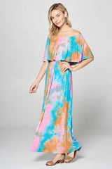 Buy Tie Dye Jersey Knit Maxi Dress Orange online at Southern Fashion Boutique Bliss