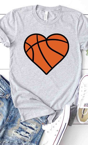 Basketball Heart Graphic Tee White