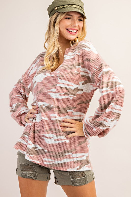 Buy Waffle Brushed Camo Top Pink/Taupe online at Southern Fashion Boutique Bliss