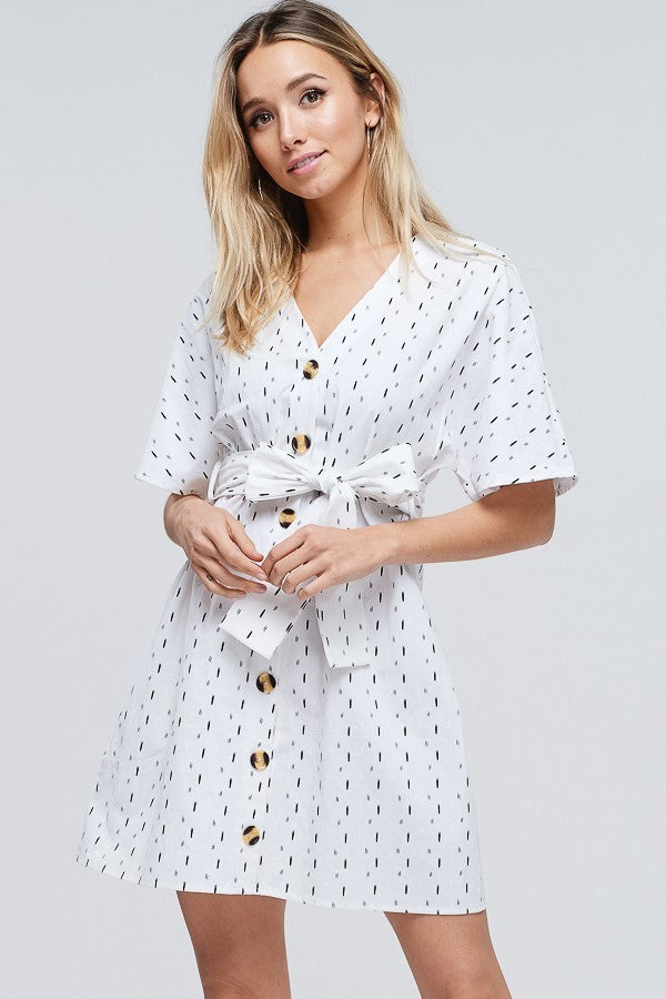 Buy Kimono Sleeve Button Down V-Neck Dress White online at Southern Fashion Boutique Bliss