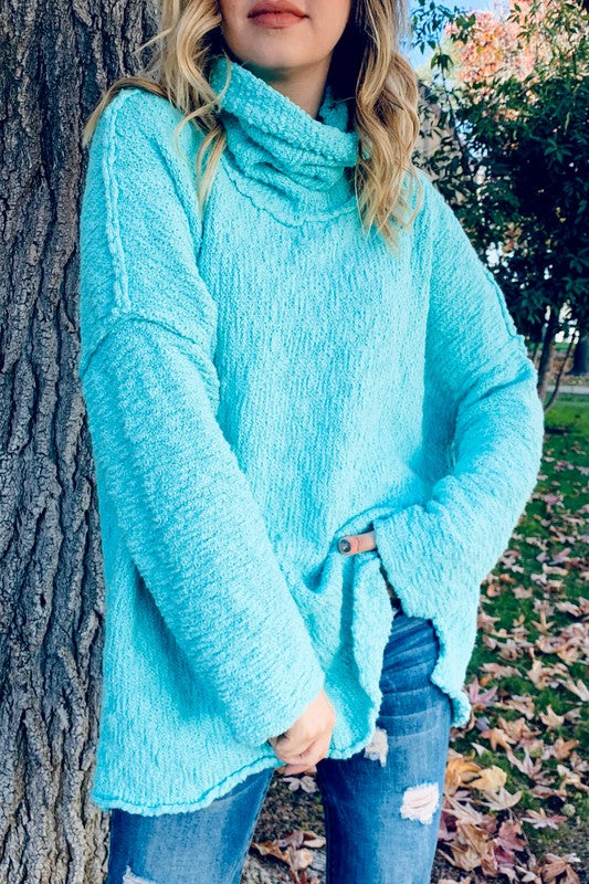 Warm Turtle Neck Sweater Aqua Blue