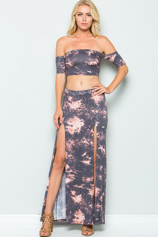 Buy Tie Dye Crop Top Maxi Skirt Set Char-Gray online at Southern Fashion Boutique Bliss