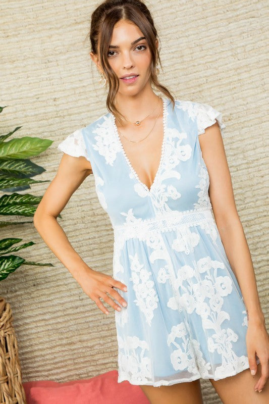 V Neck Ruffle Sleeve Floral Lace Romper Lt Blue