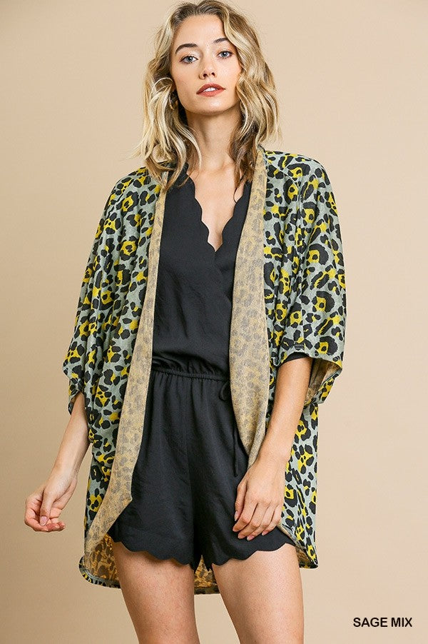 Buy Animal Print Open Front Cocoon Kimono Sage online at Southern Fashion Boutique Bliss