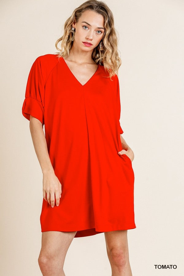 Short Sleeve V-Neck Pocket Dress Tomato