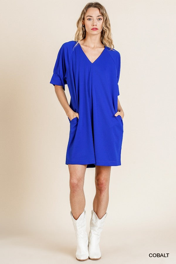 Short Sleeve V-Neck Pocket Dress Cobalt