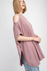 Buy Cold Shoulder Mineral Washed Knit Tunic Mauve online at Southern Fashion Boutique Bliss