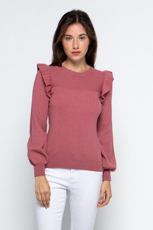 Buy Shoulder Ruffle Crew Neck Sweater Berry online at Southern Fashion Boutique Bliss