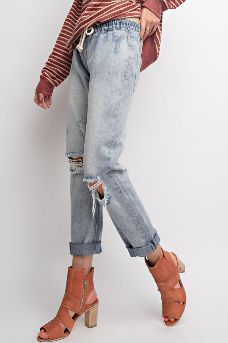 Buy Elastic Waist Washed Denim Distressed Pants Light Denim online at Southern Fashion Boutique Bliss