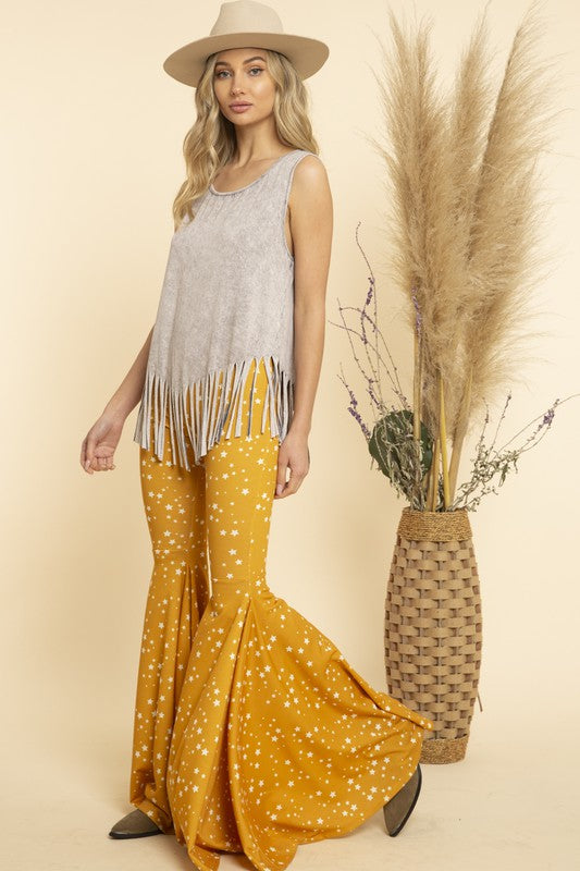 Star All Over Flare Pants Mustard