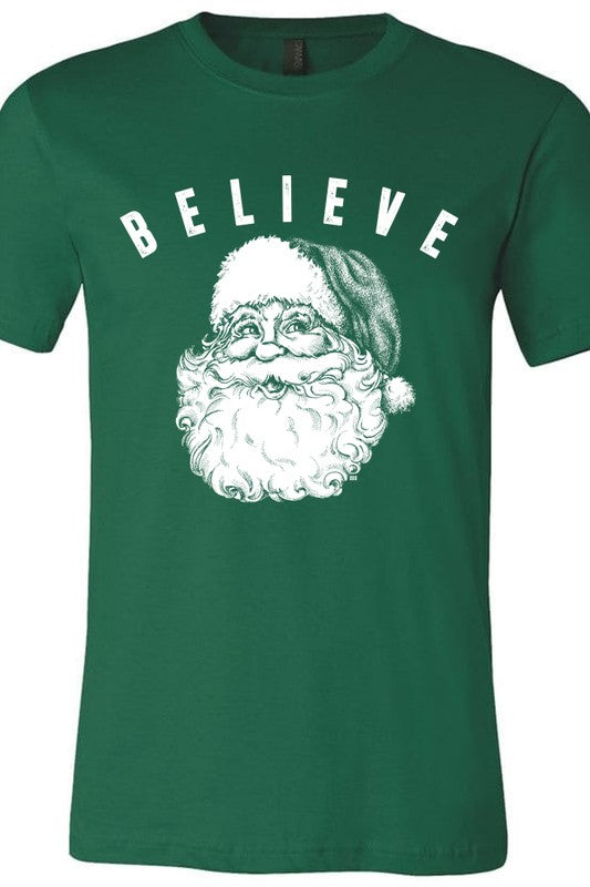 Buy Believe Vintage Santa Tee Green online at Southern Fashion Boutique Bliss