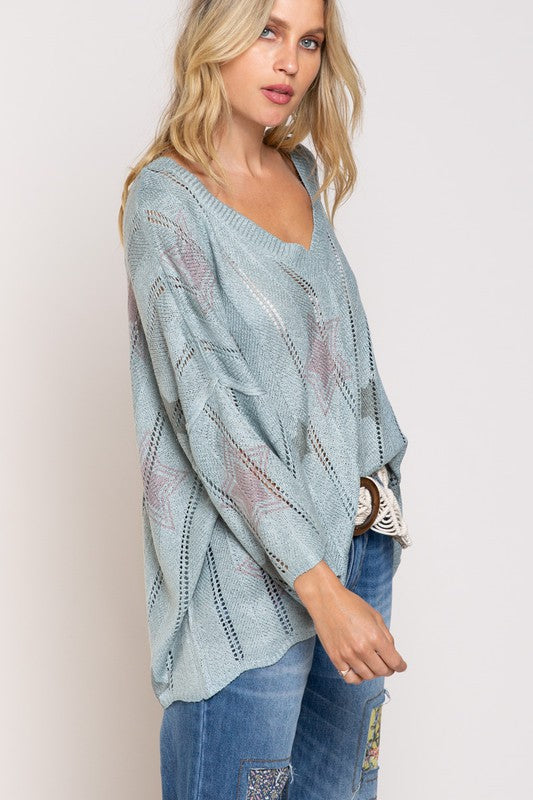 Color in Stars Loose Fit Top Dusty Pink Blue