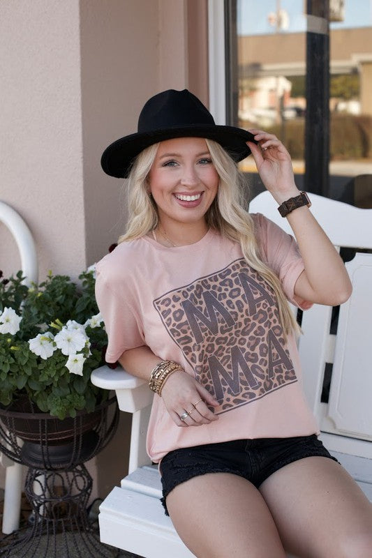 Buy Mama Leopard Square Tee Peach online at Southern Fashion Boutique Bliss