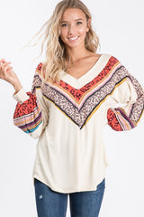 Buy V-Neck Bishop Sleeve Top Cream online at Southern Fashion Boutique Bliss