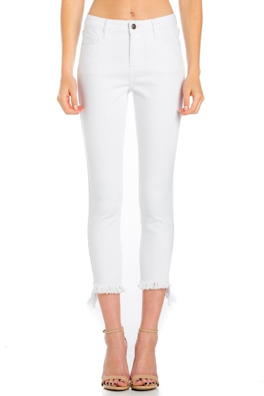 Buy Mid Rise Crop Skinny w/Fray Hem White online at Southern Fashion Boutique Bliss