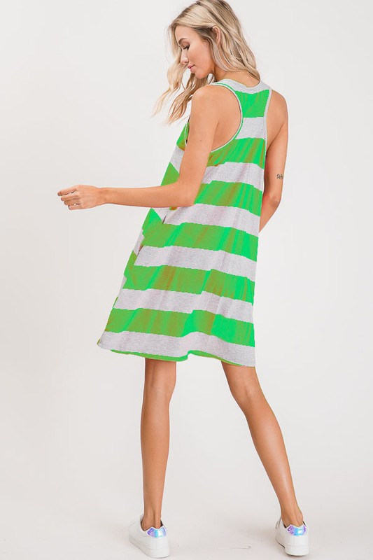 Buy Striped Sleeveless Pocket Dress Neon Green online at Southern Fashion Boutique Bliss