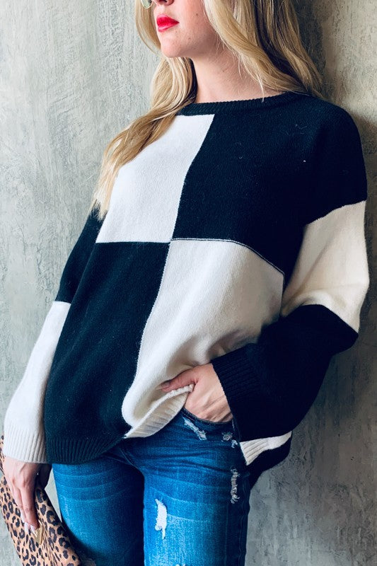 Buy Color Block Round Neck Sweater Black/White online at Southern Fashion Boutique Bliss