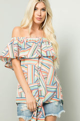 Buy Off Shoulder Tie Front Ruffle Top Orange/Taupe online at Southern Fashion Boutique Bliss