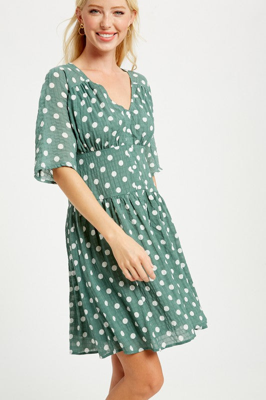 Buy Crinkled Polka Dot Button Down Dress Sage online at Southern Fashion Boutique Bliss