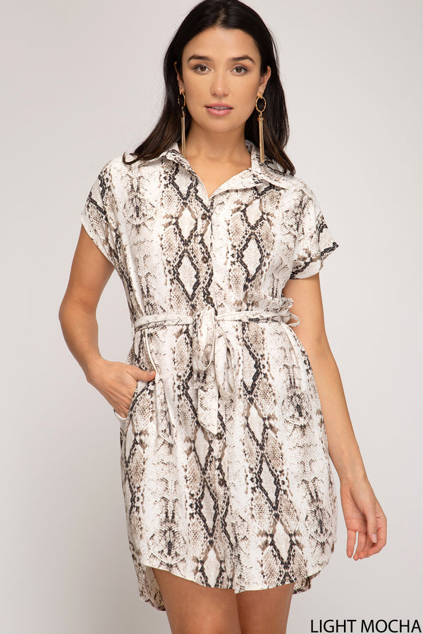 Buy Drop Shoulder Snake Skin Print Dress Mocha online at Southern Fashion Boutique Bliss