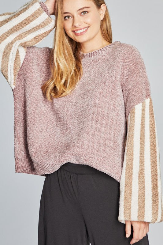 Striped Raglan Sleeve Pullover Sweater Pink