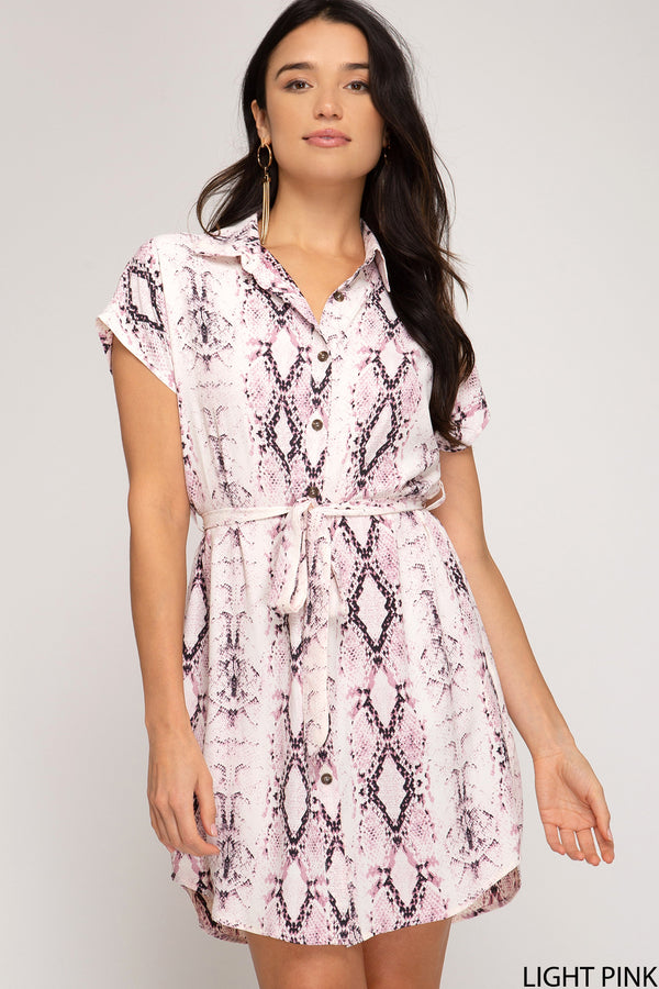 Drop Shoulder Snake Skin Print Dress Pink