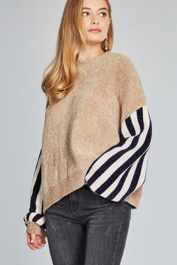 Striped Raglan Sleeve Pullover Sweater Khaki