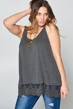 Buy Sleeveless Lace Extender Tunic Tank Top Charcoal online at Southern Fashion Boutique Bliss