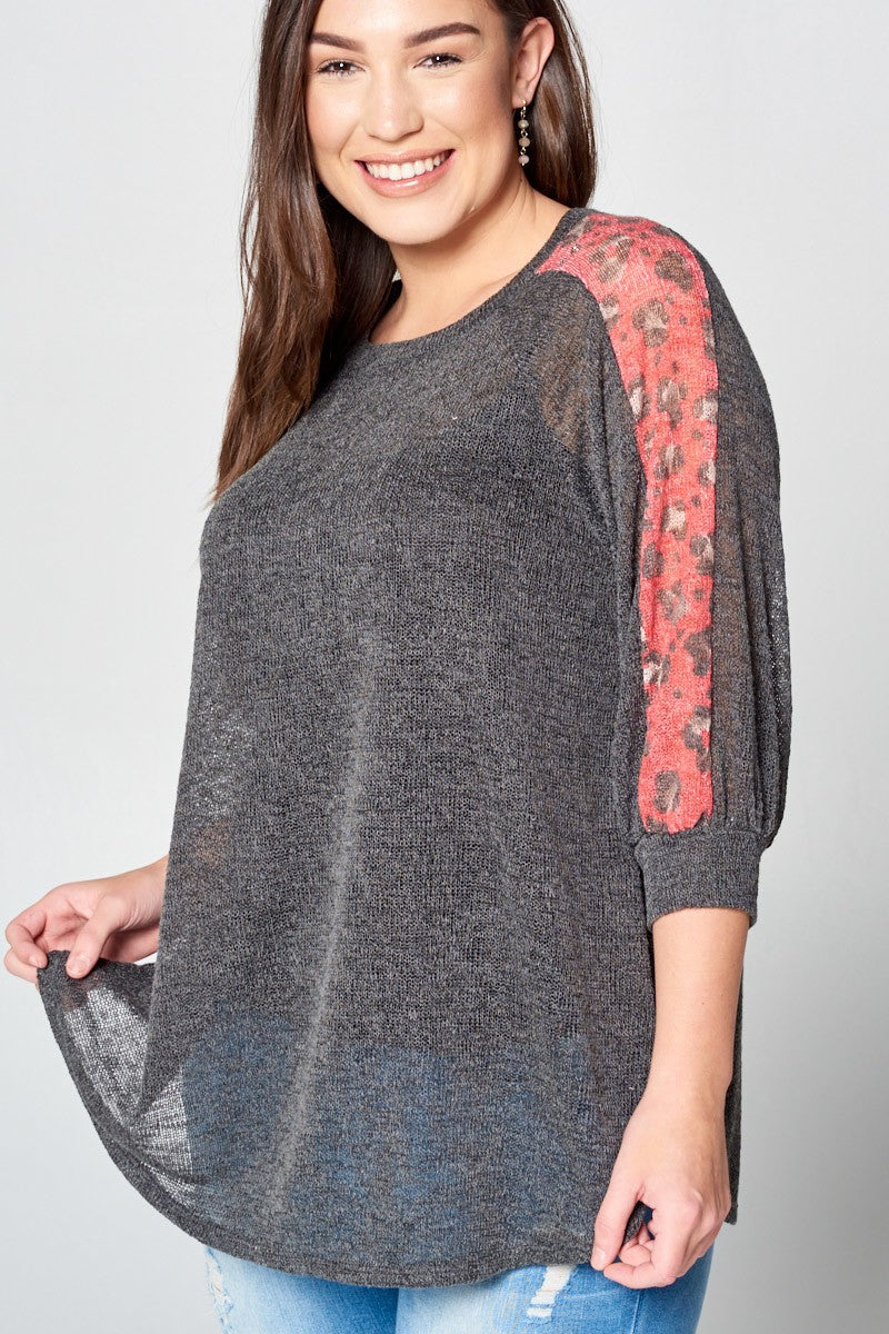 Buy Cheetah Print Balloon Sleeve Top Black online at Southern Fashion Boutique Bliss