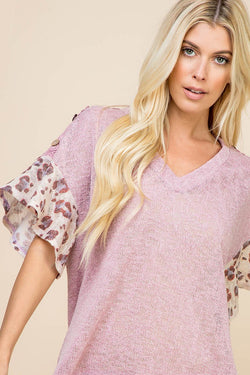 Buy Animal Print Flutter Sleeve Lace Button Trim Top Mauve online at Southern Fashion Boutique Bliss