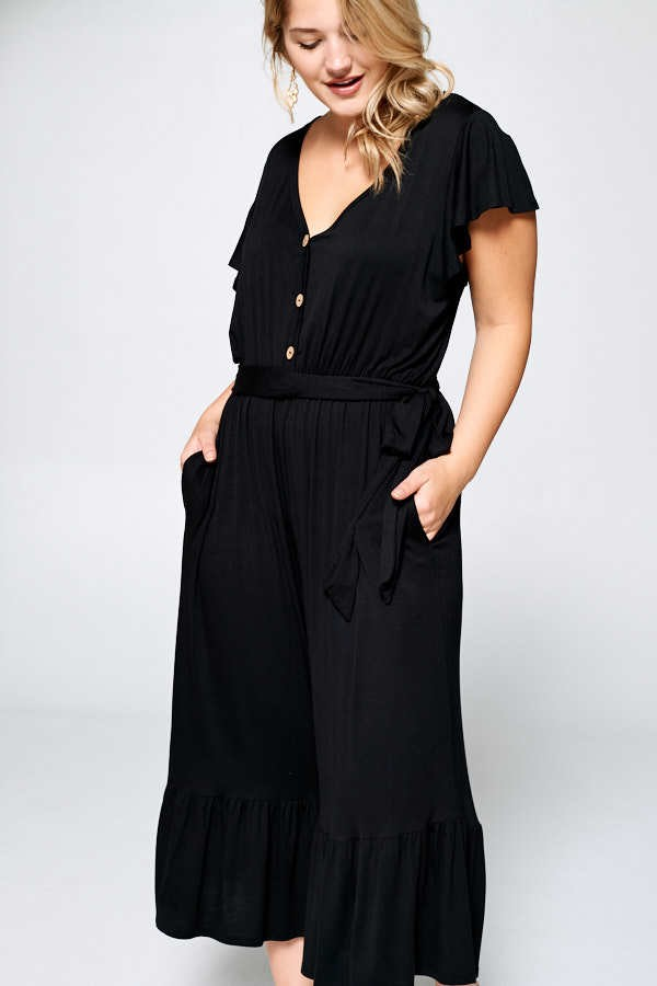 Buy Flutter Sleeve Wide Leg Cropped Jumpsuit Black online at Southern Fashion Boutique Bliss